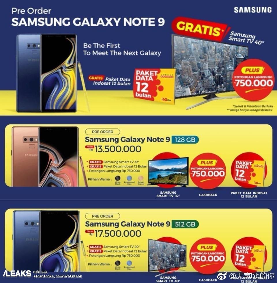 Prix en fuite du Samsung Galaxy Note 9