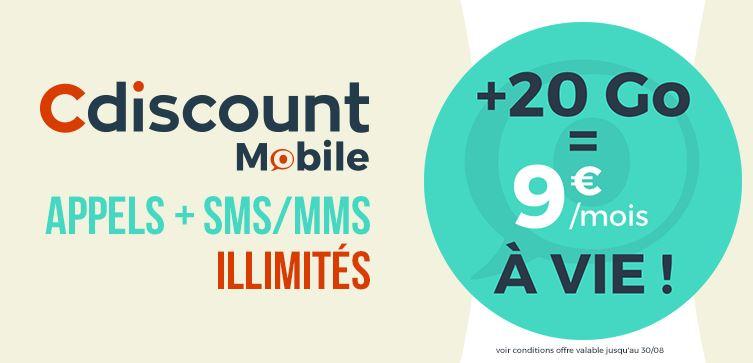 Cdiscount Mobile prolonge son forfait 20 Go à 9 euros !
