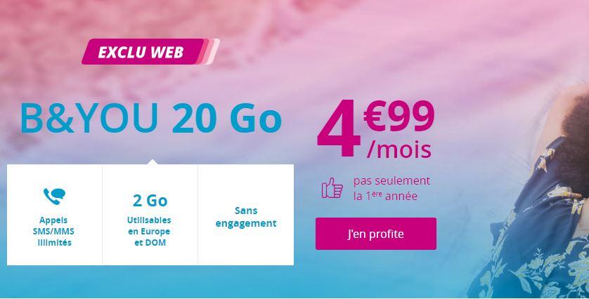 Forfait B&YOU 20 Go à 4.99 euros