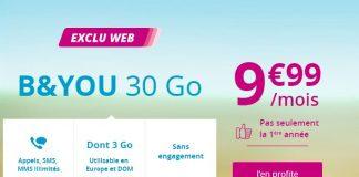 L'offre de Bouygues Telecom sur le forfait B&YOU 30 Go a été prolongée !