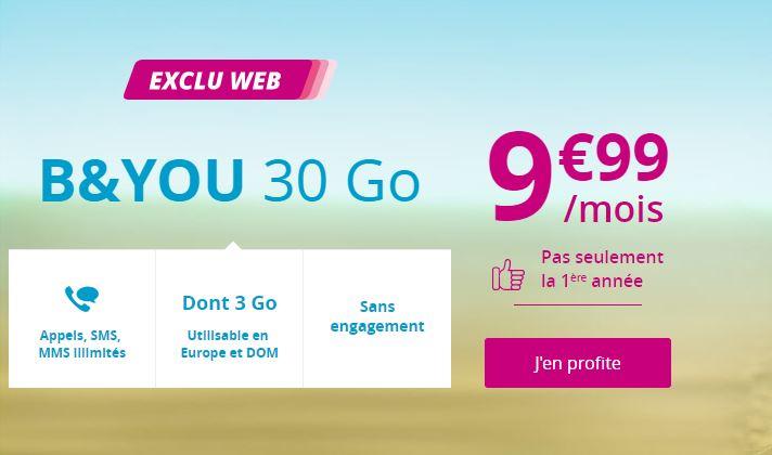 Forfait B&YOU 30 Go à 9.99 euros : bientôt la fin de l'offre !