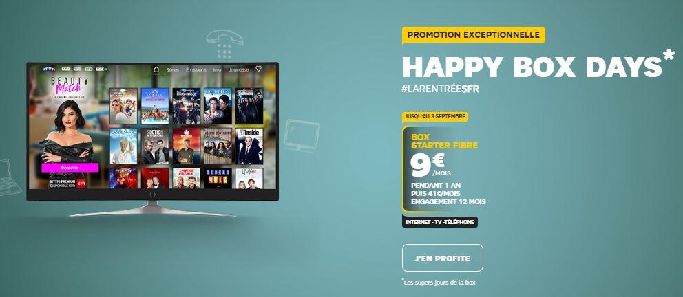 Happy Box Days : SFR affiche ses box Starter ADSL et fibre à 5 et 9 euros !
