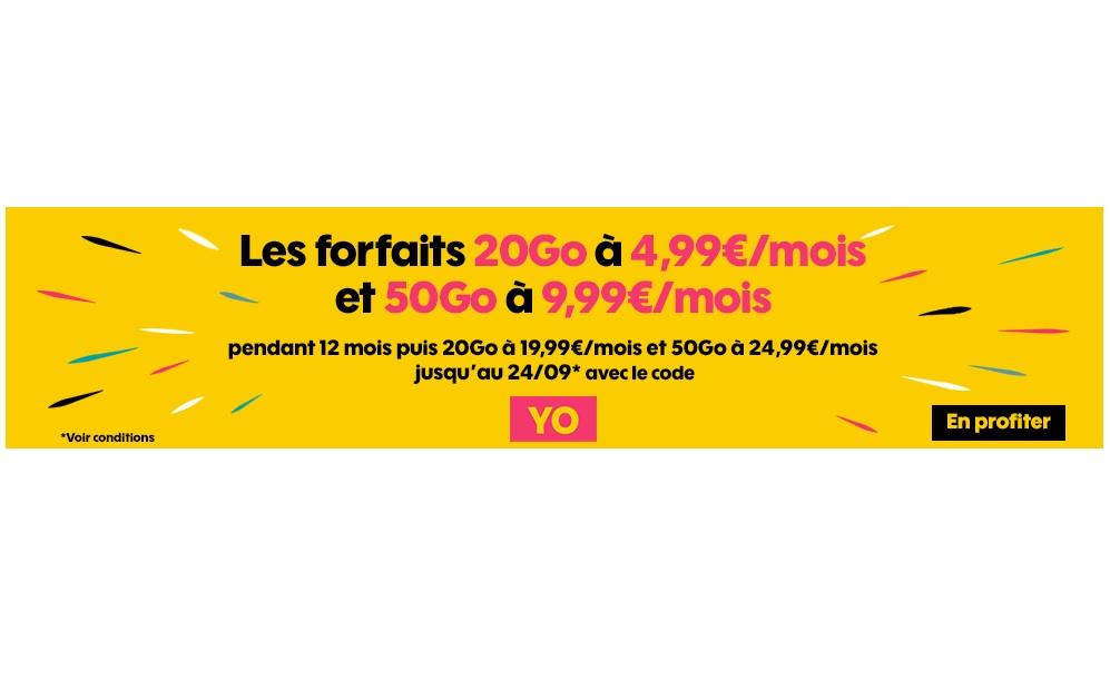 Les forfaits Sosh 20 Go et 50 Go passent à 4.99 et 9.99 euros par mois !