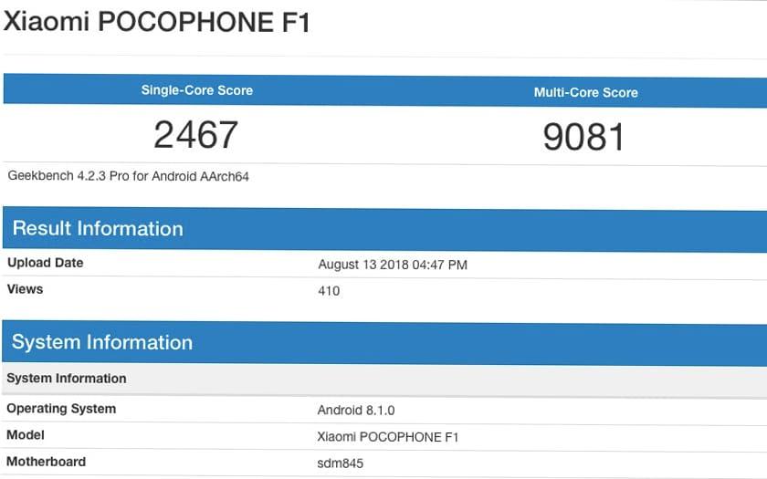 Xiaomi Pocophone F1 benchmark Geekbench