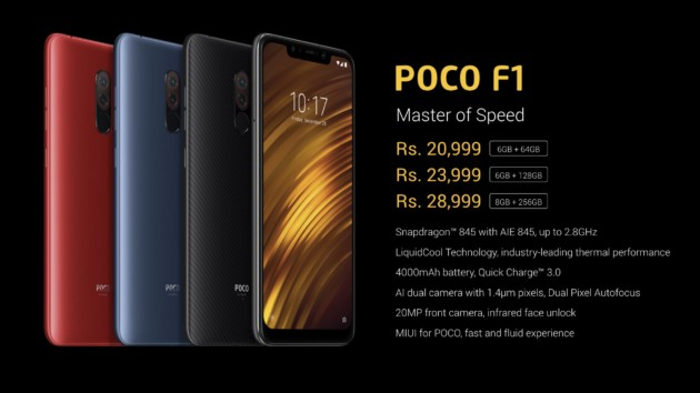 Les prix du Xiaomi Pocophone F1
