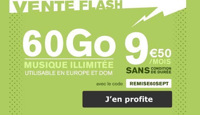 Vente flash : forfait La Poste Mobile 60 Go à 9.50 euros !