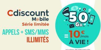 Forfait Cdiscount Mobile 50 Go à 10 euros !