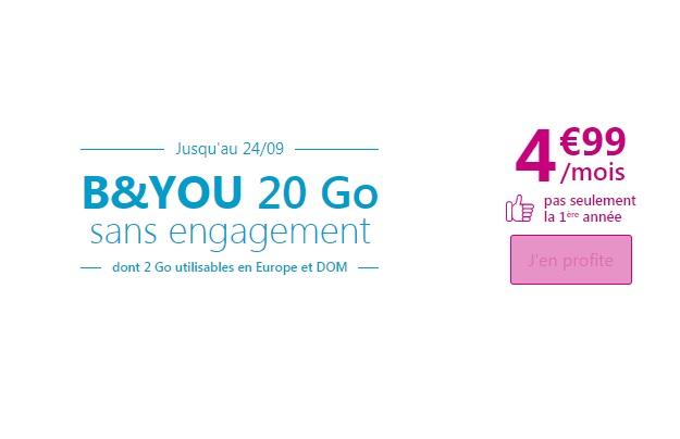 Forfait B&YOU 20 Go : une offre à 4.99 euros prolongée !