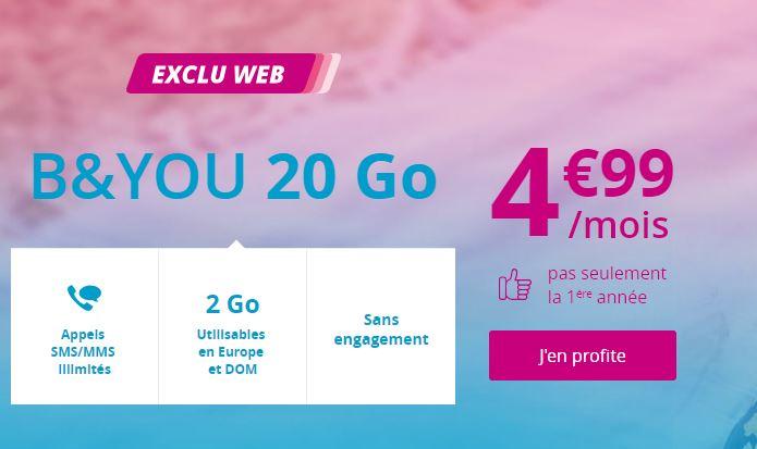 Forfait B&YOU 20 Go : Bouygues Telecom prolonge l'offre à 4.99 euros !