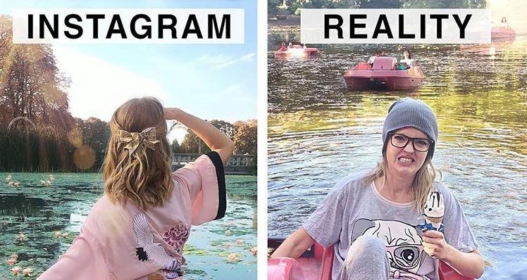Géraldine West confronte avec la réalité les photos Instagram