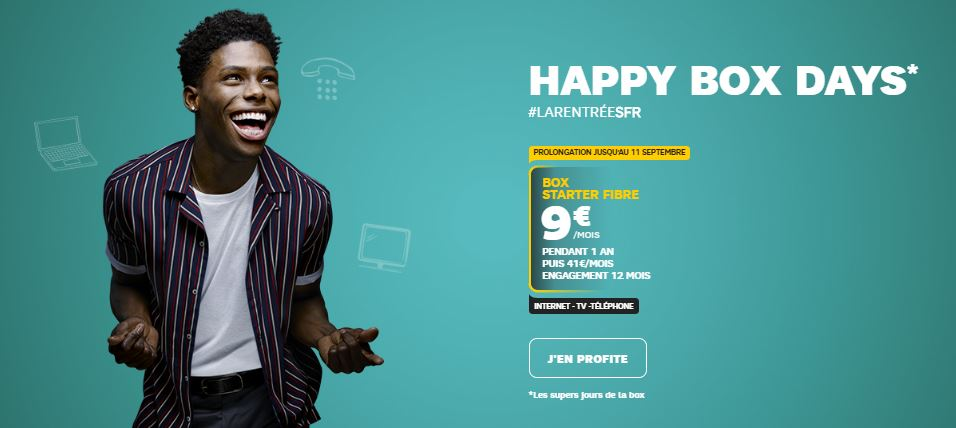 Happy Box Days : prolongation des Box Starter ADSL à 5 euros et Fibre de SFR à 9 euros !
