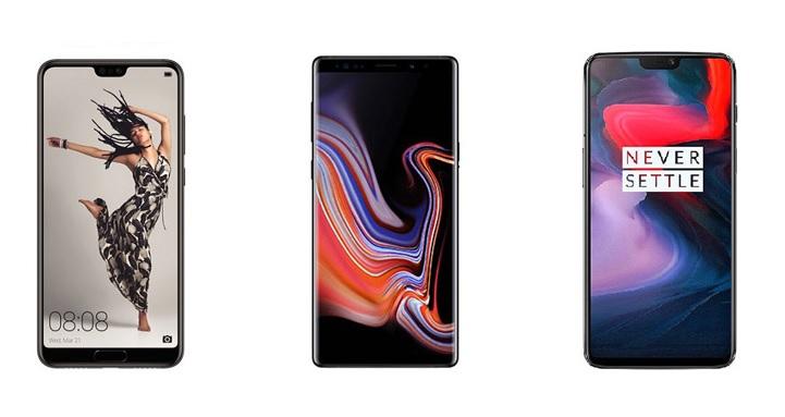 Huawei P20 Pro, Samsung Galaxy Note 9 et OnePlus 6