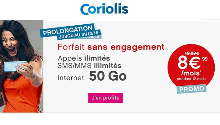 Bon plan : le forfait 50 Go de Coriolis à 8.99 euros est prolongé !