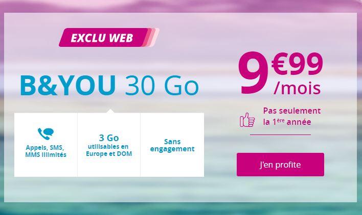 Le forfait 30 Go à 9,99€/mois à vie — Promo Bouygues Telecom