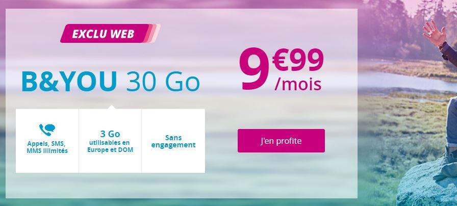 Bon plan : offre prolongée sur le forfait B&YOU 30 Go à 9.99 euros