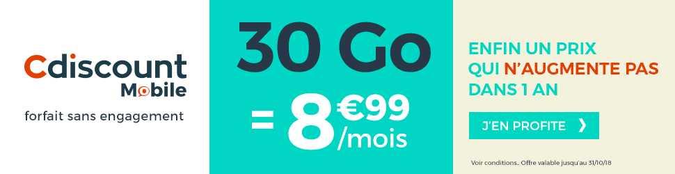 Bon plan : forfait Cdiscount Mobile 30 Go à 8.99 euros !