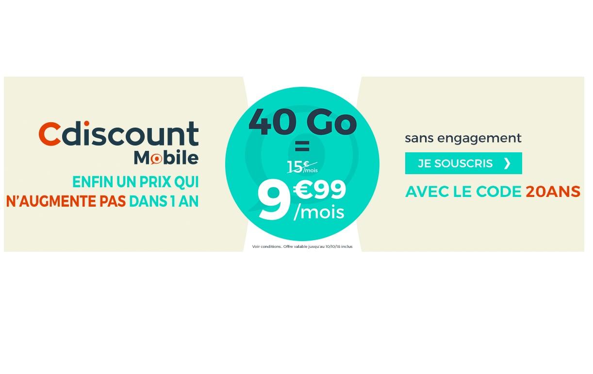 Le forfait 40 Go de Cdiscount Mobile est à 9.99 euros au lieu de 15 euros