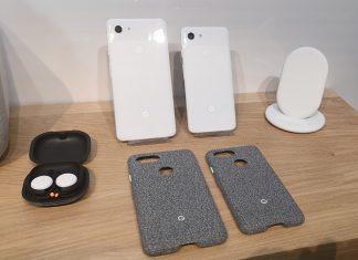Les Google Pixel 3 XL et Pixel 3 avec leurs accessoires