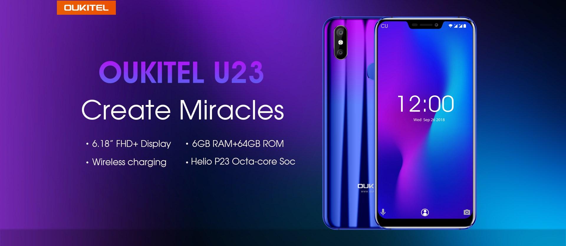 Oukitel U23 : un smartphone de plus de 6 pouces sous Android 8.1 Oreo