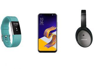 FitBit Charge 2, Asus ZenFone 5 et Bose QuietComfort 25