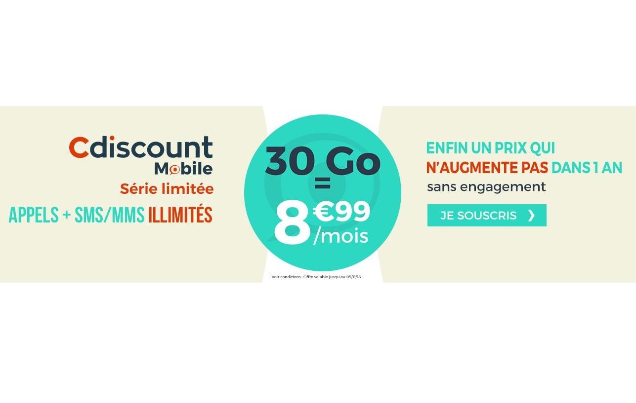 Le forfait Cdiscount Mobile 30 Go à 8.99 euros est prolongé !