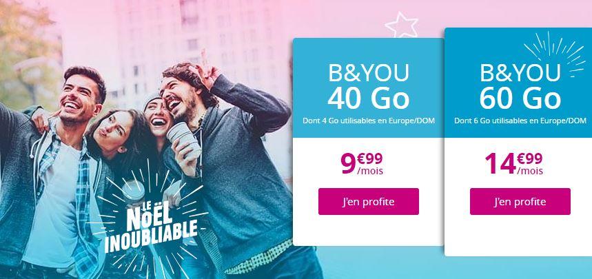 Bon plan : forfaits B&YOU 40 Go et 60 Go à 9.99 euros et 14.99 euros