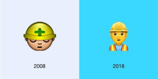 construction worker ios 2008 2018 emojipedia 1 - L'évolution des emojis d'iPhone depuis leur 10 ans d'existence