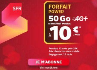 Forfait Power 50 Go SFR à 10 euros