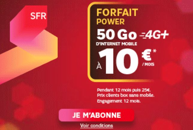 bon plan forfait power 50 go de sfr 10 euros par mois meilleur mobile. Black Bedroom Furniture Sets. Home Design Ideas