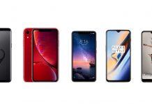 Samsung Galaxy S9, iPhone XR, Xiaomi Redmi Note 6 Pro, OnePlus 6T et Huawei P20 Pro