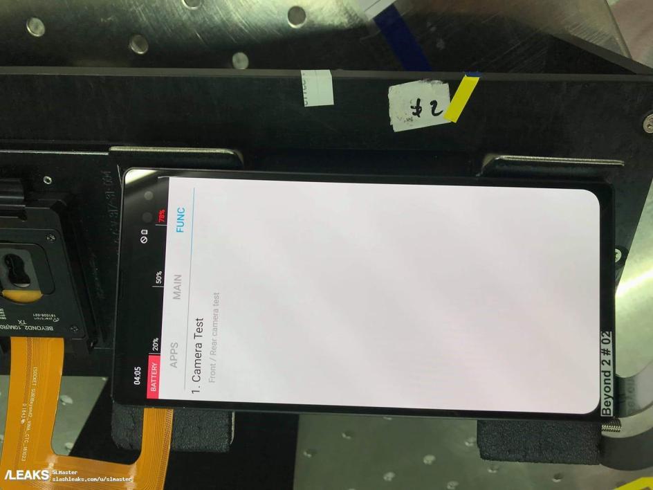 Samsung Galaxy S10 : une photo montre une encoche sur le coin supérieur droit