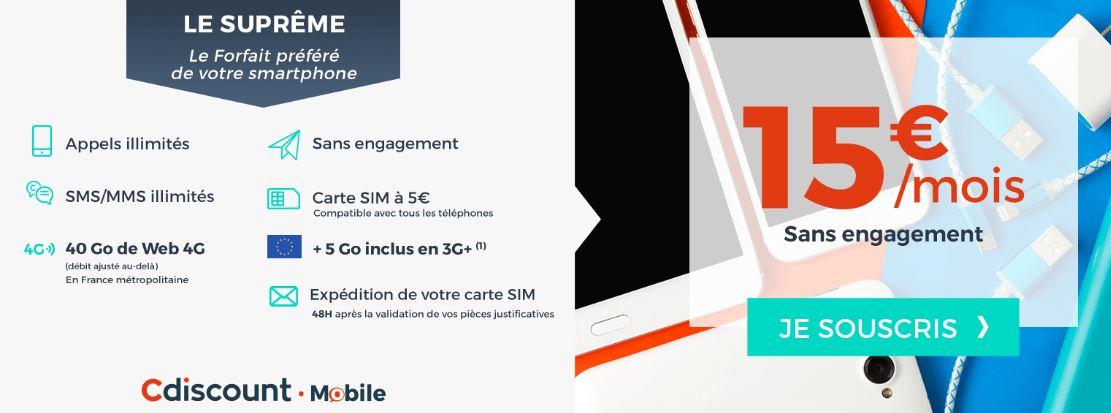 bon plan forfait 40 go cdiscount mobile euros au lieu de 15 euros meilleur mobile