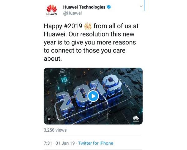 Le fameux tweet de Huawei réalisé à partir d'un iPhone