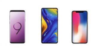 Samsung Galaxy S9 Xiaomi Mi Mix 3 iPhone X