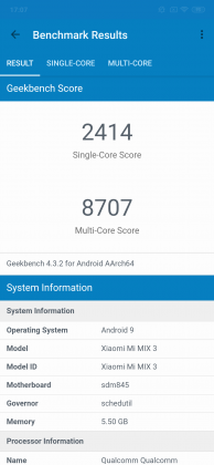 Xiaomi Mi Mix 3 - Geekbench
