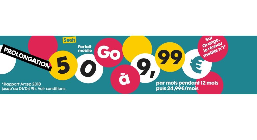Bon plan : le forfait Sosh 50 Go à 9.99 euros au lieu de 24.99 euros prolongé !