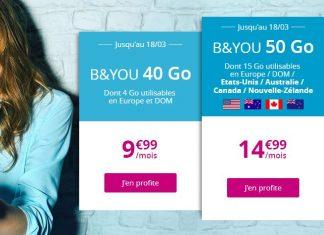 Forfaits B&YOU 40 Go et 50 Go en promo