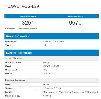Geekbench : Huawei P30 Pro