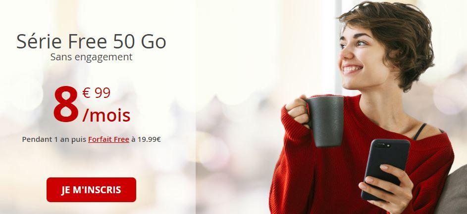 Forfait Free Mobile 50 Go à 8.99 euros