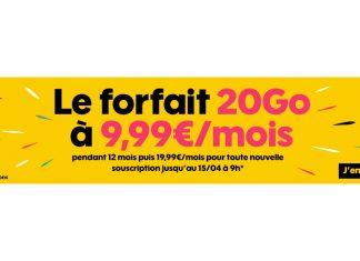 Forfait Sosh 20 Go à 9.99 euros