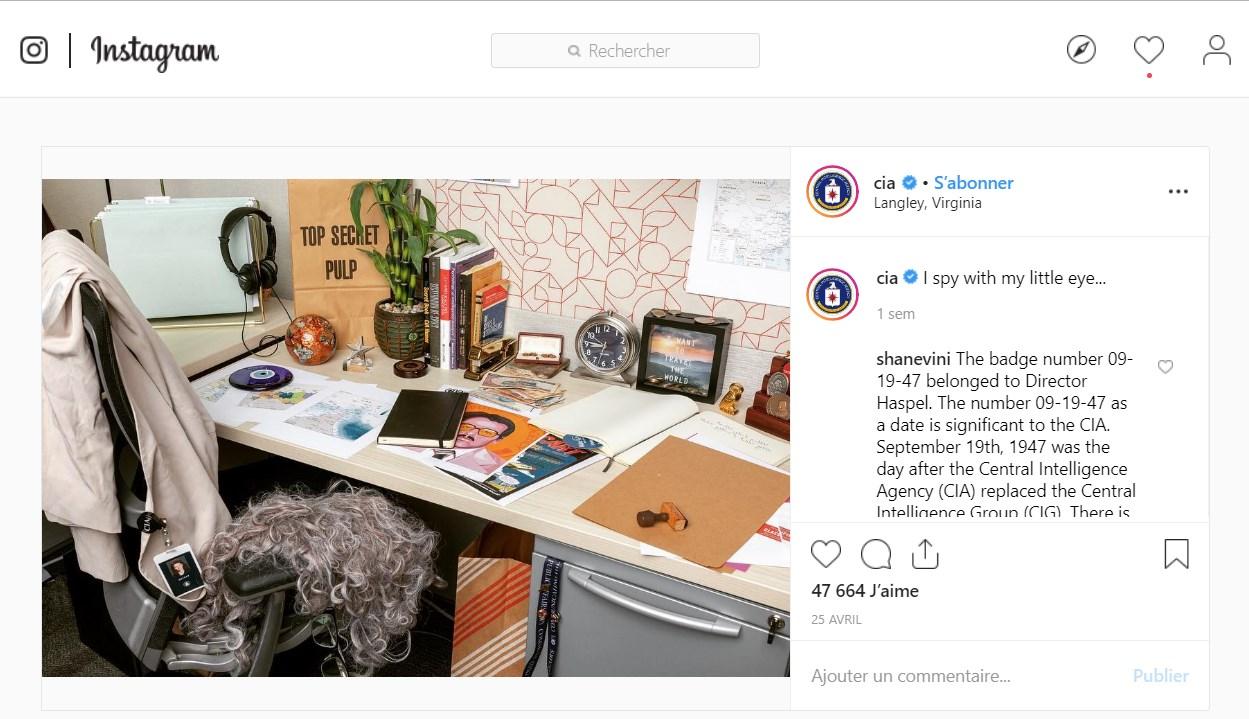 La CIA crée un compte Instagram