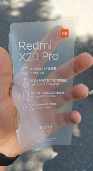 La fiche technique du Redmi X20 Pro - Source : Weibo