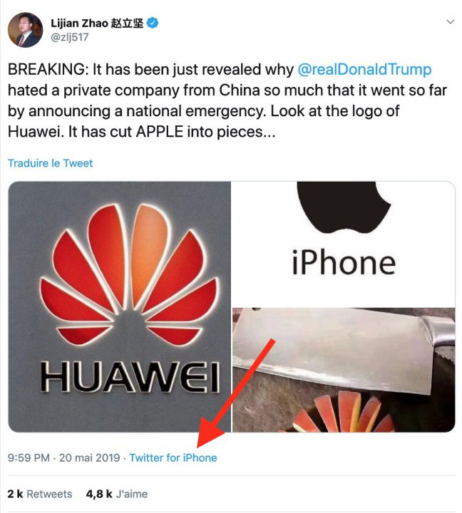 Insolite : un diplomate chinois tacle Apple sur Twitter, mais oublie qu'il utilise un iPhone