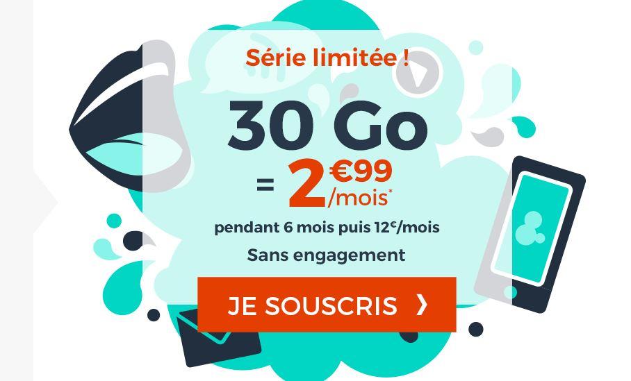 Forfait Cdiscount Mobile 30 Go à 2.99 euros