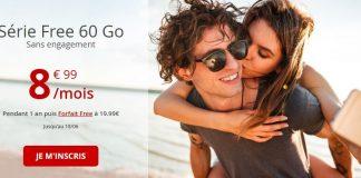 Forfait Free Mobile 60 Go à 8.99 euros