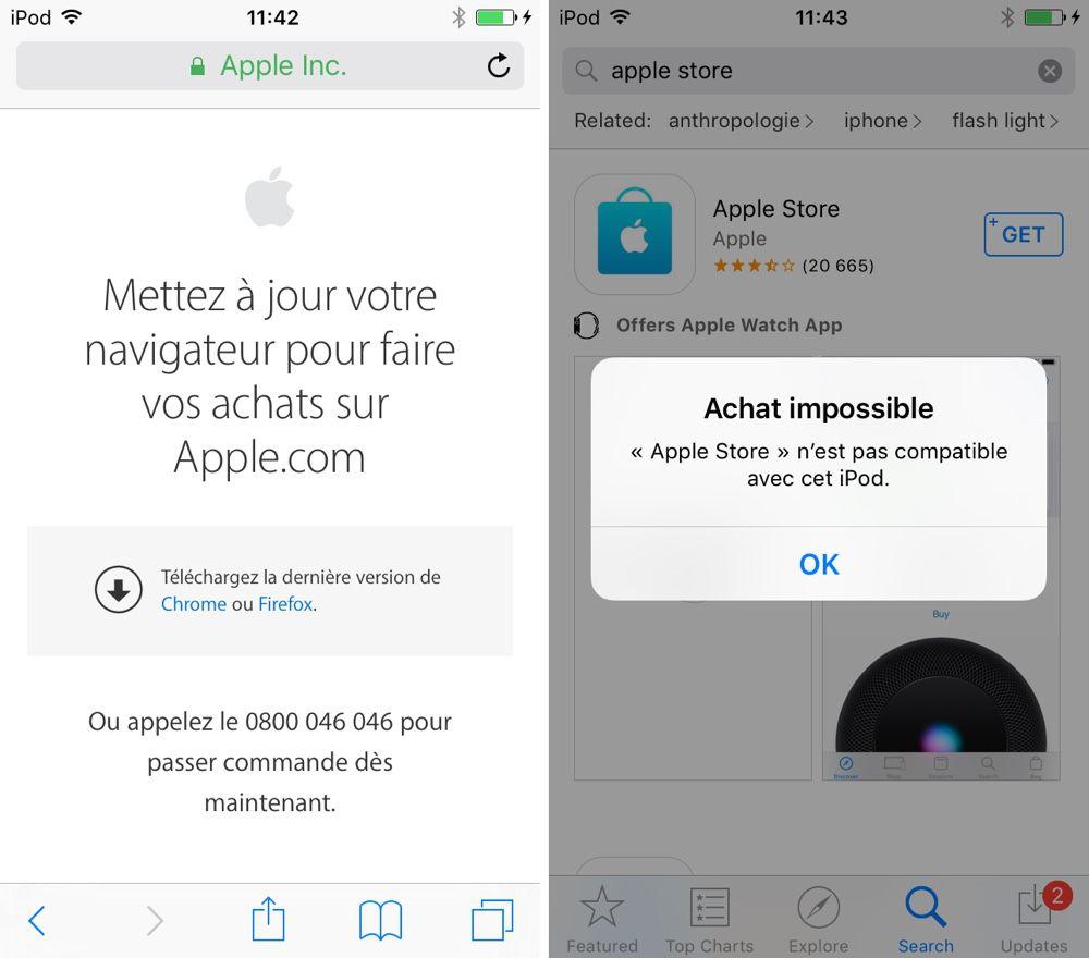 Les anciens Mac et iPhone ne peuvent plus faire commande sur l'Apple Store