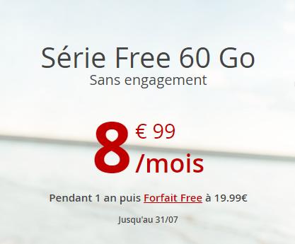 Bon plan : le forfait Free 60 Go à 8,99 pendant 12 mois jusqu'au 31 juillet