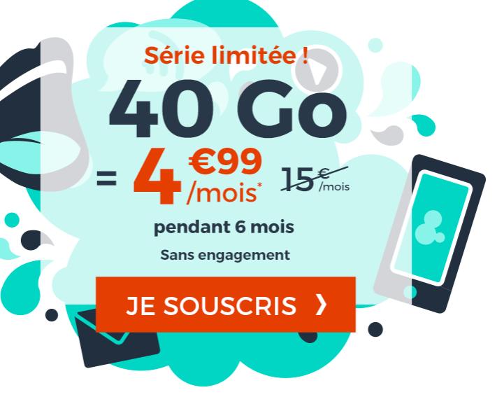 Bon plan : le forfait 40 Go à 4,99 euros/par mois au lieu de 15 euros/mois sur Cdiscount