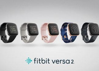 Product render of Fitbit Versa 2 inbox and Special Edition family.