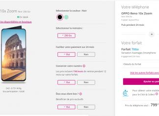 Oppo Reno x10 zoom Bouygues Telecom forfait Sensation